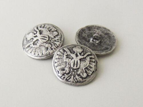 5528as-34 3 muy grandes altsilberfarbene botones de metal con cabeza doble águila
