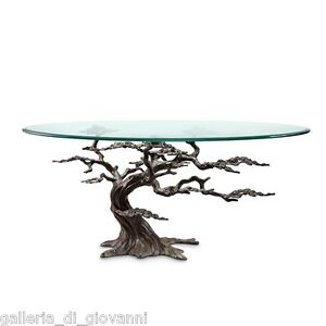 Coastal Artistic Cypress Tree Glass Accent Coffee Table Sculpture