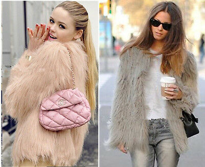 High ~ Faux Fur 4 inches Long Hairy Shaggy Long sleeve Jacket Outwear Coat Tops