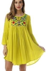 5f40ffdcf67 NEW RIVIERA SUN Women Lrg-1X-2X-3X EMBROIDERED BELL SLEEVE Sun Dress ...
