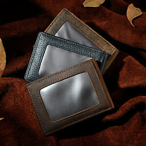 Mens Real Leather Bifold minimalist SD Card Slot Case Front Pocket Slim Wallet