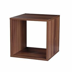 Wooden-Storage-30cm-Cube-Box-Side-Table-Cupboard-Cabinet-Stackable-Square-Teak