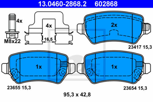 A04 13.0460-2868.2 für OPEL ASTRA H ATE Bremsbelagsatz Hinterachse HA