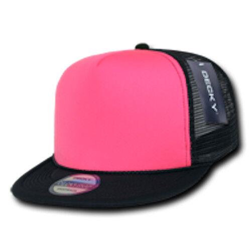75 Lot Decky Neon Mesh Foam Flat Bill Trucker Hats Caps Two Tone Wholesale Bulk
