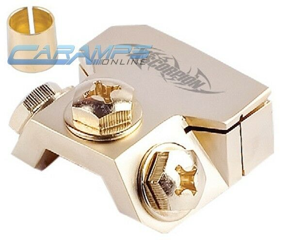 NEW XSCORPION GOLD PLATED MULTI OUT CAR STEREO BATTERY TERMINAL CLAMP W/ 3 RING