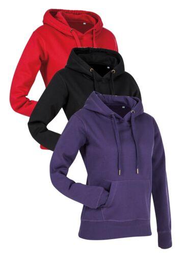 Ladies Womens RED BLACK PURPLE Cotton Rich Active Hooded Sweatshirt Hoodie