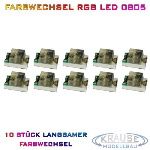 KM0065 10 Stück SMD RGB LED 0805 automatisch langsamer Farbwechsel Modellbau KFZ