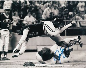 STEVE YEAGER  LOS ANGELES DODGERS  W/ DAVE PARKER  ACTION SIGNED 8x10