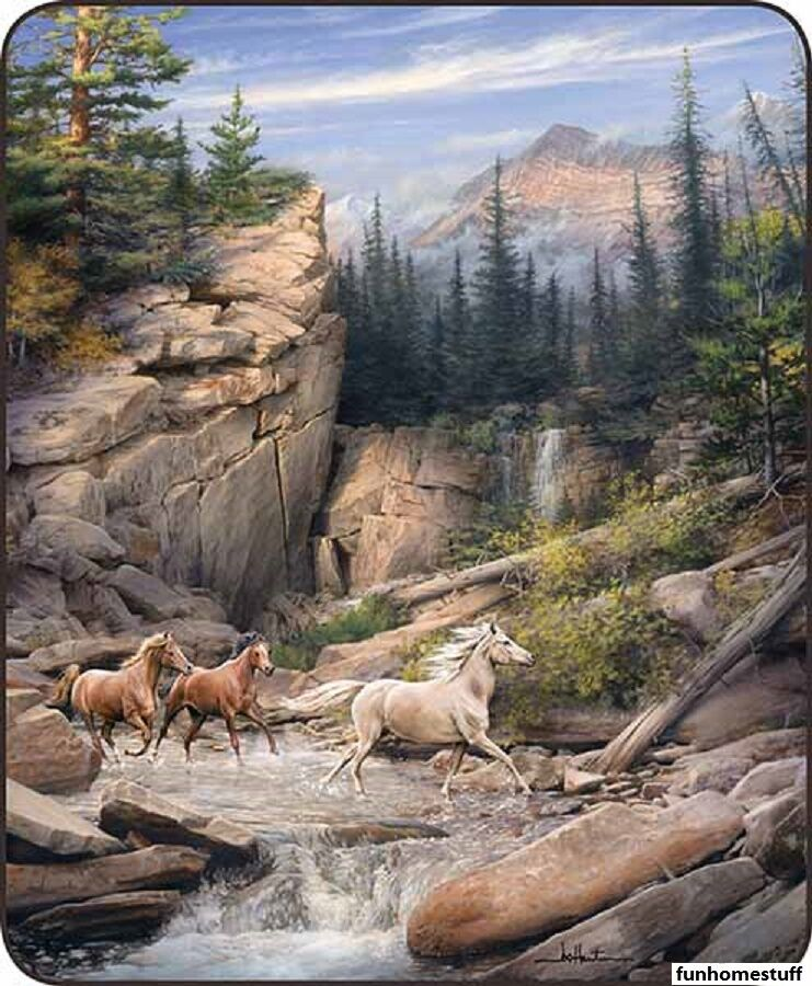 CANYON RUN HORSES Artist Collection Queen Soft Luxury SHERPA Bed Blanket 79 x96