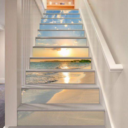 13pcs 3D Sunrise Ocean Beach Seacape Self-Adhesive Stair Sticker Staircase Decor