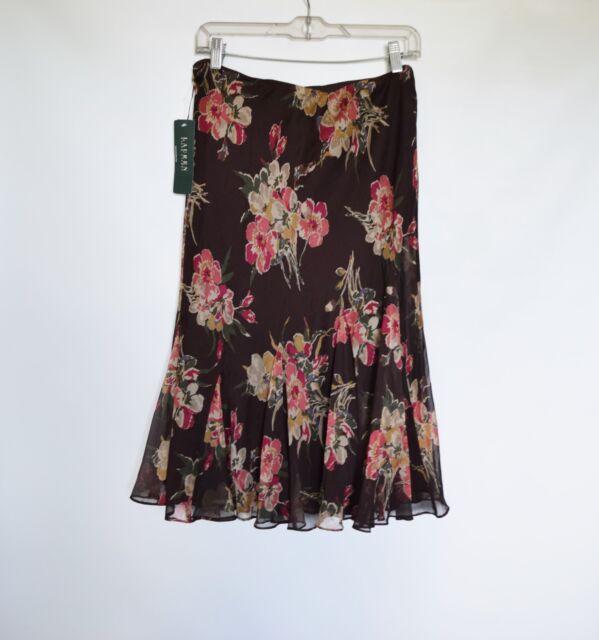 NWT $109 LAUREN Ralph Lauren Broun Floral Womens A-Line Below Knee Skirt Size M