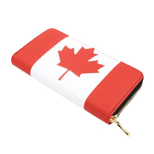 Premium Canada pays drapeau Maple Leaf Print PU Cuir Zip Around Wallet