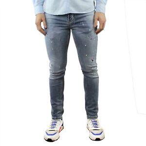 Jeans-Uomo-Elasticizzato-Denim-Slim-Fit-Strappati-Estivo-Cinque-Tasche-Pantalone