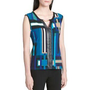 CALVIN-KLEIN-Women-039-s-Teal-Printed-Embellished-Split-Neck-Blouse-Shirt-Top-TEDO