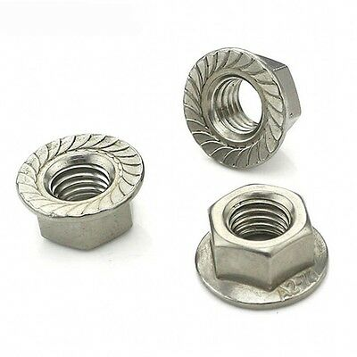 Stainless Steel Hex Flange Nut Serrated UNC 5//16-18 Qty 50