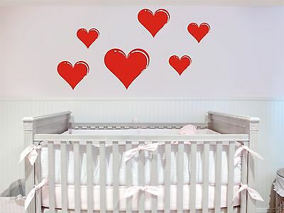 Hearts Removable Wall Decals Art Vinyl Sticker Decal Baby Nursery Decor Ebay