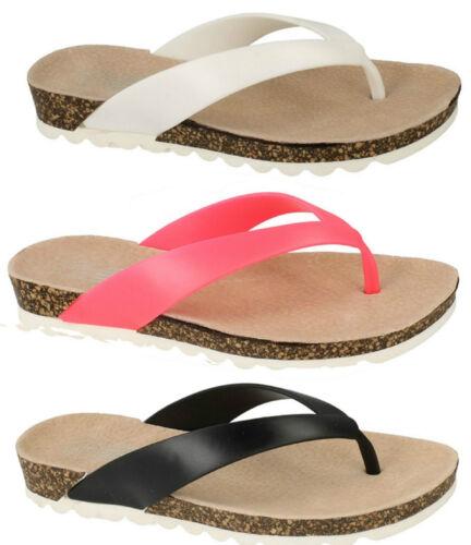 SALE LADIES SPOT ON TOE POST FLIP FLOP MID WEDGE FOOTBED SUMMER SANDALS F10423