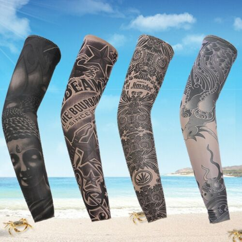 New Cycling Tattoo Arm Warmers Bicycle UV Protect Elastic Sleeve Cover Random