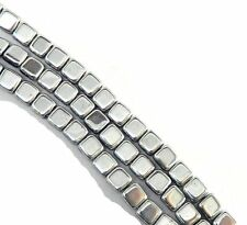 Silver 6mm Square Glass Czech Two Hole Tile Bead 25 Beads 2