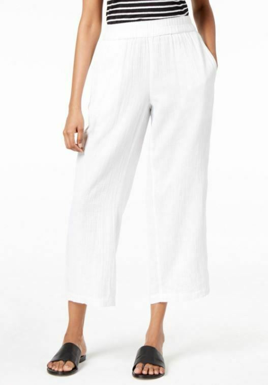 Eileen Fisher White Organic Cotton Gauze Straight Cropped Pant M