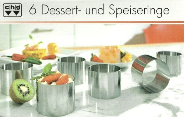 6-teilig CHG Dessertringe, Dessert- und Speiseringe Edelstahl 7,5 cm rund