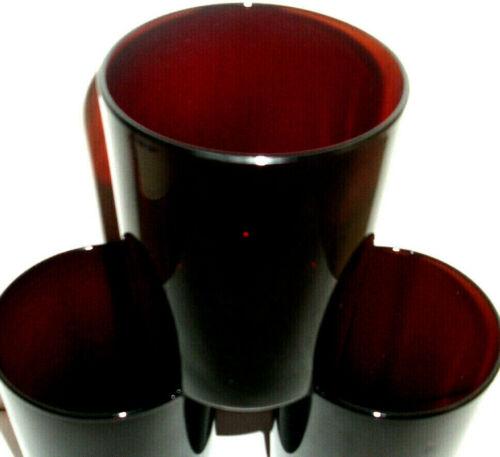 5 x rare(!) rote Saft / Wasser Gläser wohl LUMINARC Glas rot 70er Vintage Becher