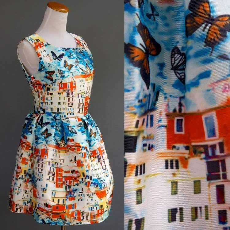 Psychedelic Village Butterfly Fit & Flare Dress Runway Couture Inspired XS S