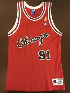 check out 166a8 a6b0a Details about Rare Champion 50th Anniversary NBA Chicago Bulls Dennis  Rodman Basketball Jersey