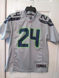 Nike On Field Marshawn Lynch  24 Seahawks NFL Jersey Shirt Gray ... 57fa2bcd4