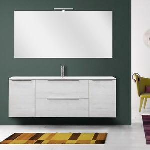Mobile da bagno bianco 140 cm 2 ante e 2 cassetti con specchio ...
