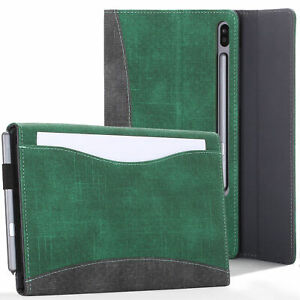 Samsung-Galaxy-Tab-S6-10-5-Case-Cover-Stand-amp-Document-Pocket-Green-Stylus