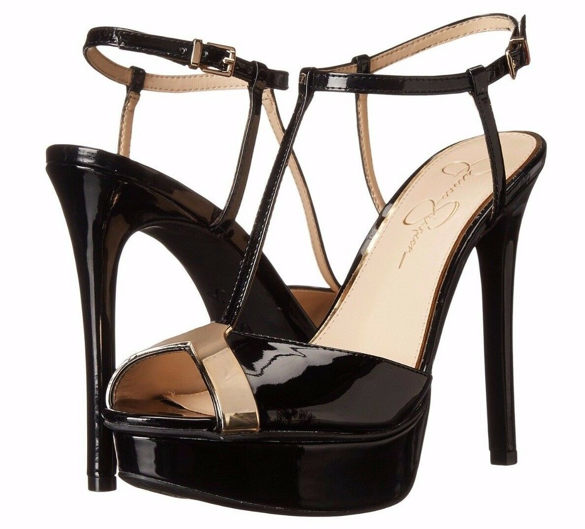 Jessica Simpson Carys Black w gold Accent T-Strap Patent Heels shoes - MSRP  119