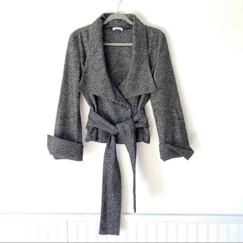 Stefanel Tie Front Black Tweed Jacket Medium