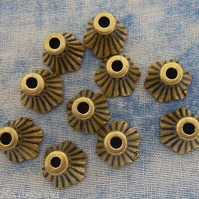 Antique Bronze Bell Flower Bead Caps Alloy Metal 10 pieces 9.3mm  #994
