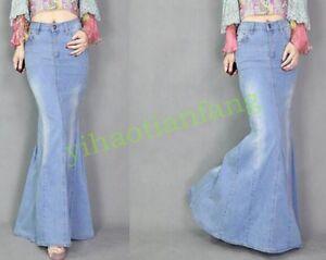 Fashion-Vintage-Women-Dress-Washed-Jeans-Light-Casual-Denim-Fish-Tail-Long-Skirt