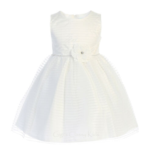 New Pink Striped Tulle Girls Dress Baby Toddler Kids Wedding Easter Birthday 206