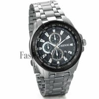 Men Fashion Decoration Dial Stainless Steel Sport Quartz Wrist Watch With Date