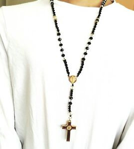 Details about Hip Hop Black Beads Alloy Cz Rosary Jesus Cross Religious  Necklace Chain