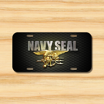 "Navy Seals Black Gold 6/""x12/"" Aluminum License Plate Tag United States U.S"
