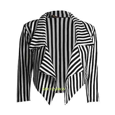 Da Donna Nero /& Bianco a Righe Corta A Cascata Cappotto Casual Giacca Blazer