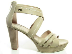 Nero Giardini P805610D sandali donna tacco alto plateau pelle sabbia