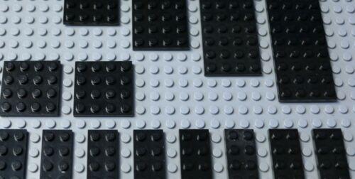 21 LEGO Medium Noir Plaques 2x10 2x12 4x4 4x6 4x8 4x10 4x12 Très bon état #Y161-5