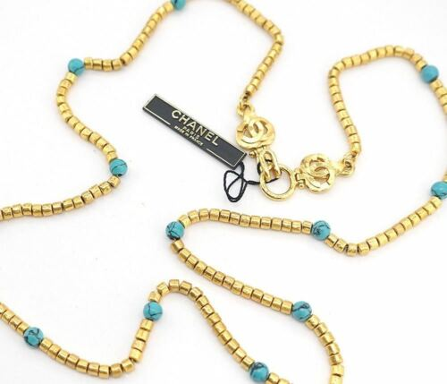 Chanel Paris Turquoise/Teal Stone Bead Logo Clasp
