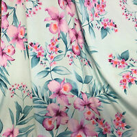Jersey Dress Fabric Pink Orchid on Mint Viscose Lycra Sample, 1/2 or full Metre
