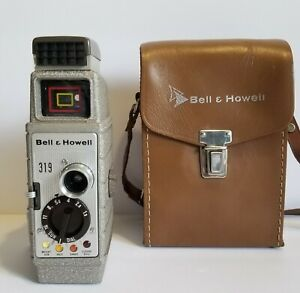 1950s-Bell-amp-Howell-Model-8mm-Film-319-Movie-Camera-amp-Cowhide-LeatherCase