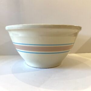 Vintage McCoy Pottery Beehive Nesting #10 Mixing Bowl Blue Pink Band Stripe 10in