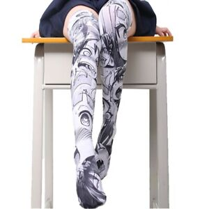 4518ebab372 Image is loading Anime-Ahegao-Printed-Stockings-Lolita-Gothic-Velvet- Overknee-