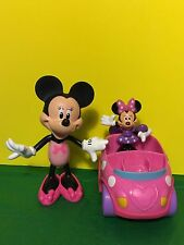 Lot Of 2 Disney Minnie Mouse Dolls With Pink Car Gift Collectible