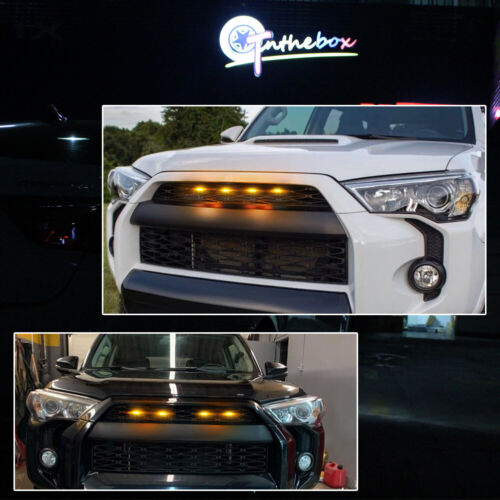 4PCS Bright Amber Front Grill Lights LED Lamps Kit For Toyota 4Runner 2014-2019