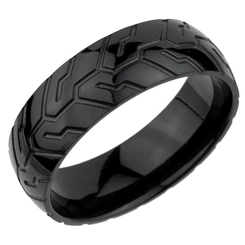 black tire tread pattern stainless steel band ring tr019 8mm width - Tire Wedding Rings
